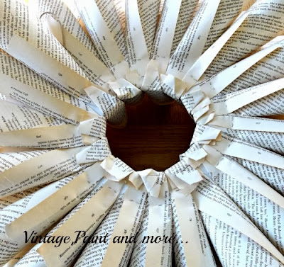 Book Page Wreath Tutorial - a view of finished back of wreath