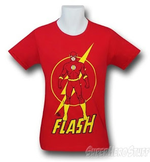 Front of new Flash t-shirt at SuperHeroStuff