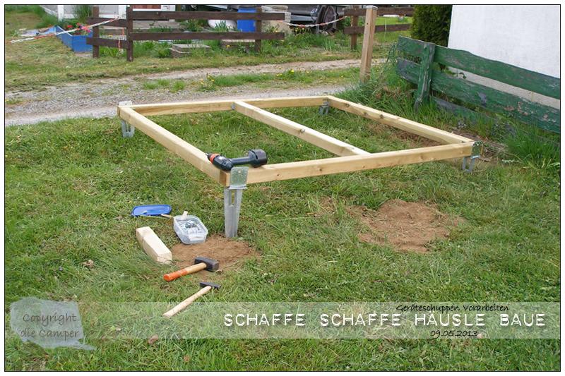 Gerateschuppen fundament - Gartenhauschen selber bauen ...