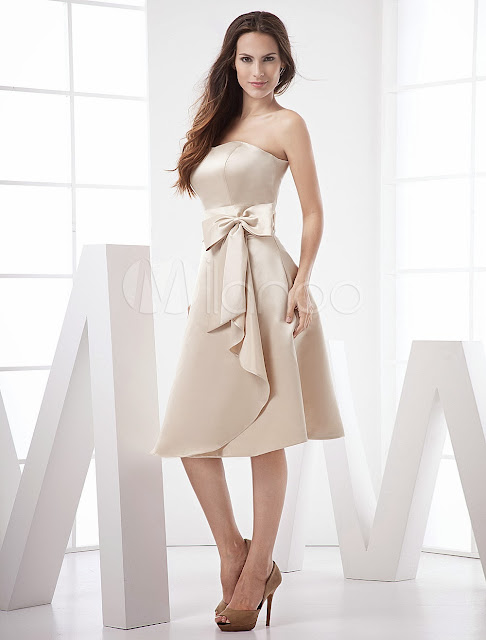China Wholesale Clothes - Classic Strapless Sash Bow Tea Length Satin Prom Dress