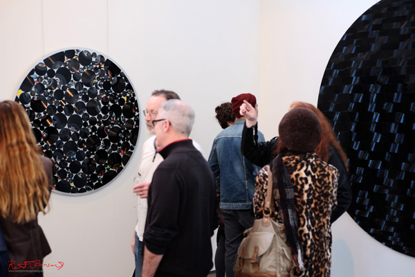 Art crowd and large scale circular Vinyl works by Manne Schulze. Danks St 2013