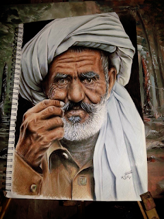 Portrait by color pencil