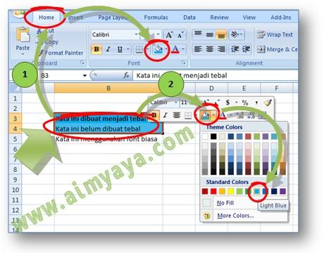 Gambar: Cara Mengatur warna cell (fill color) di Microsoft Excel menggunakan ribbon dan mini toolbar