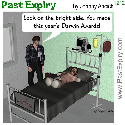 Cartoon about award, health, Darwin,