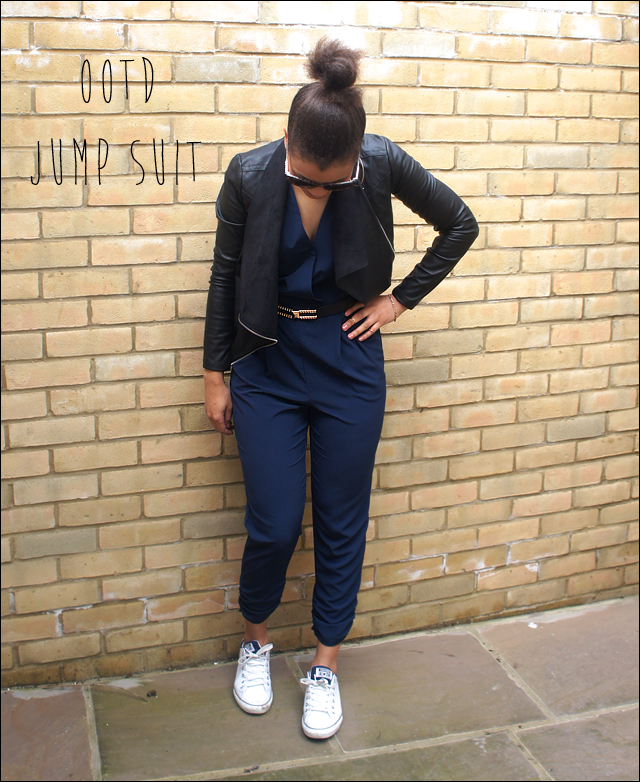 River Island Navy Wrap Front Belted Jump Suit
