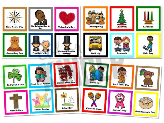 Classroom Calendar Days Of The Year : Holiday special days calendar cards color me kinder