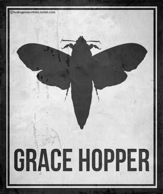 black and white poster of a moth with the name Grace Hopper underneath it