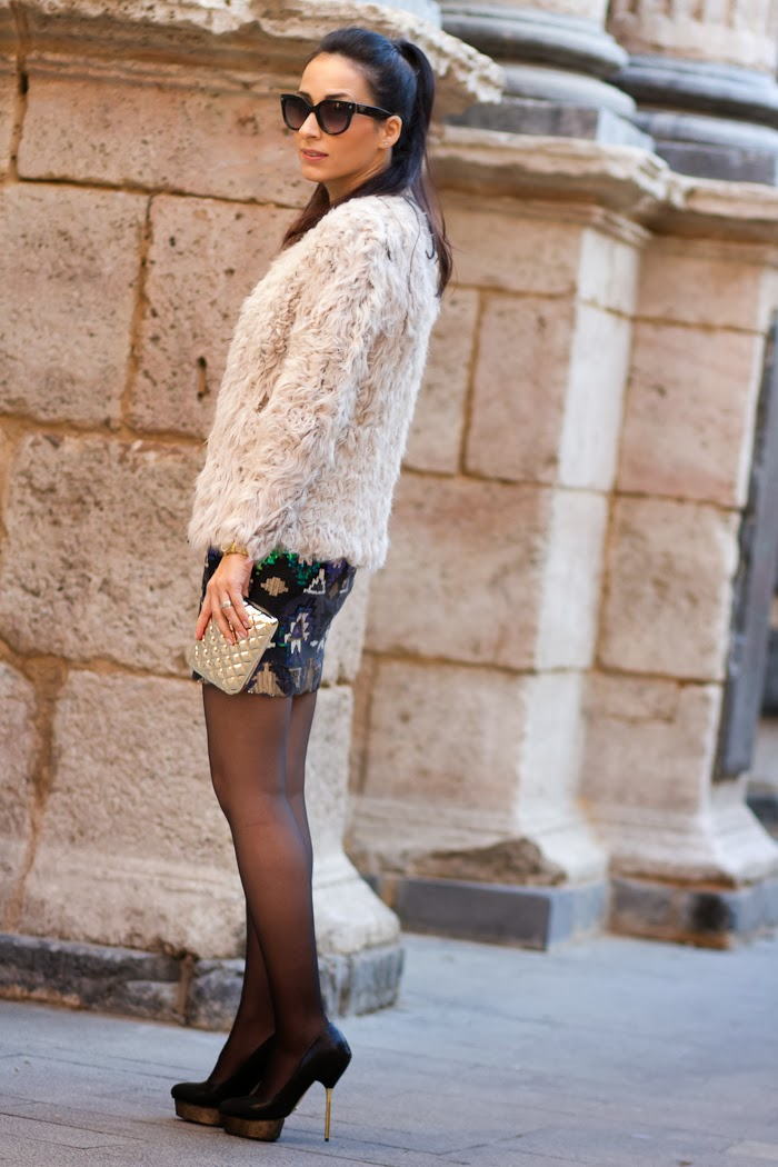Aztec Pattern Paillettes by Lashes of London Dress and Fur jacket by Zara
