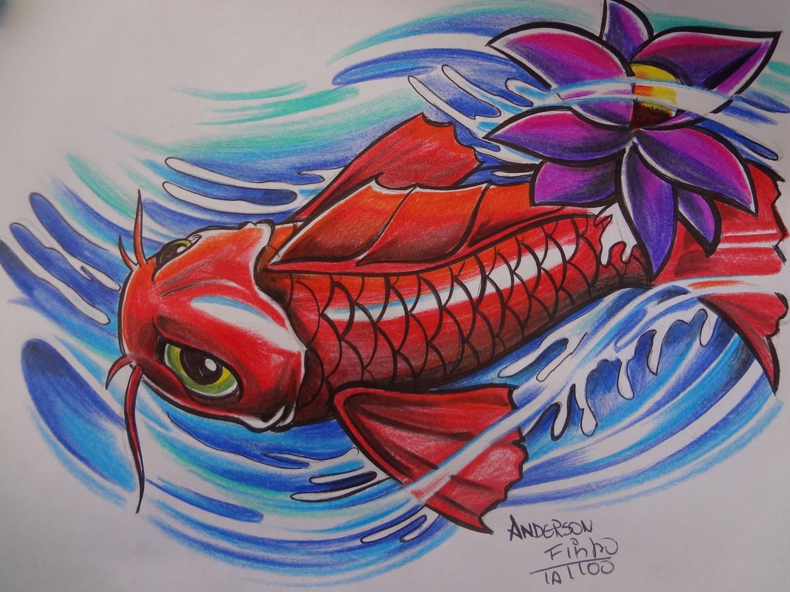 Arte local tattoo como criar desenhos para tatuagem carpa for Como criar peces koi
