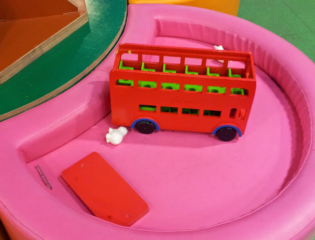 Hamleys, London, Toys, red wooden bus, wooden, bus