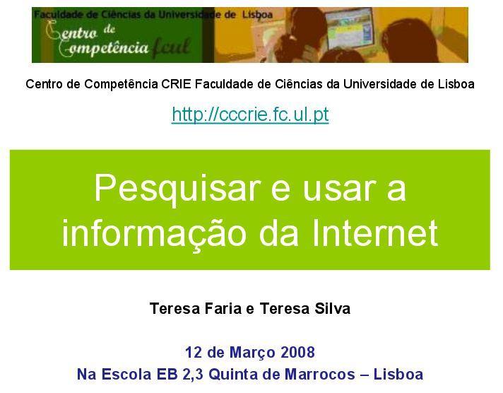 Pesquisar e Usar a Informação da Internet - CRIE