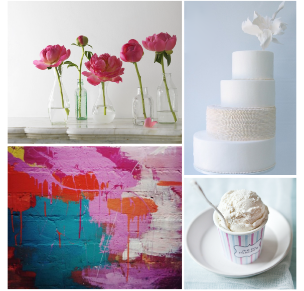 A bright and bold mix of teal and pink coupled with white and bluegray for