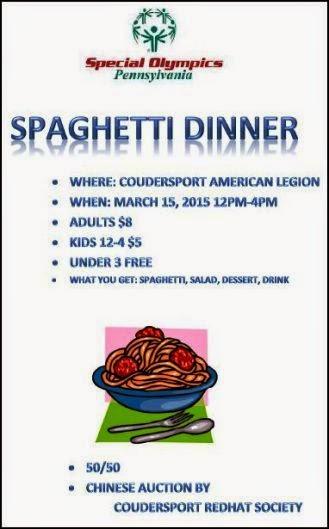 3-15 Spaghetti Dinner Special Olympics