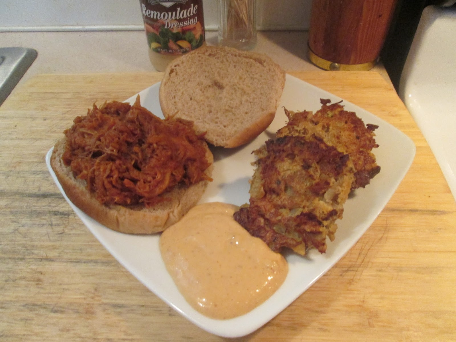 Diab2cook pulled smoked pork barbecue sandwich w baked crab cakes - Make lamb barbecue ...