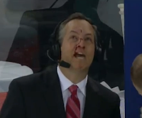 MSG reporter John Giannone hit in face with puck