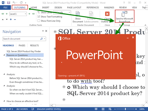 send Word 2013 document to PowerPoint