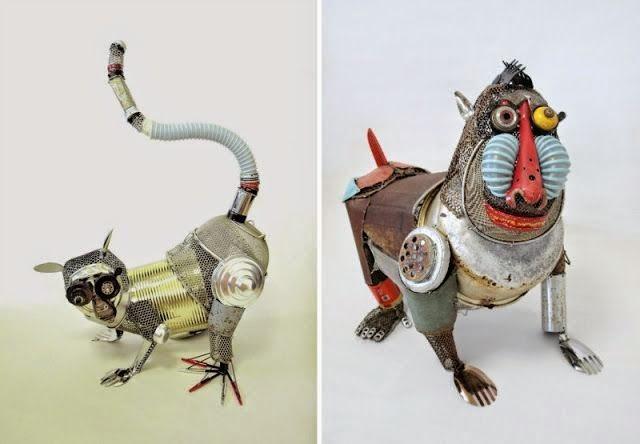 Ingeniosas esculturas de animales con materiales reciclados ...