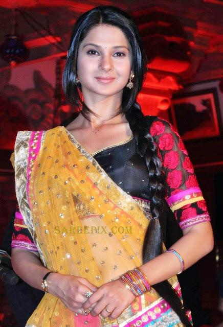 lehenga style half saree with transparent choli with pink lehenga at