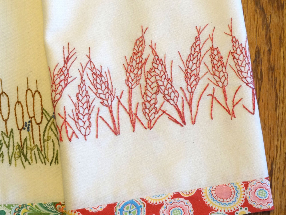 Redwork Embroidery Kitchen Towels