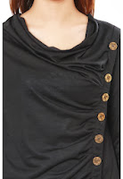 Black Viscose Western Victorian Top With Metal Buttons On Front By Grapes
