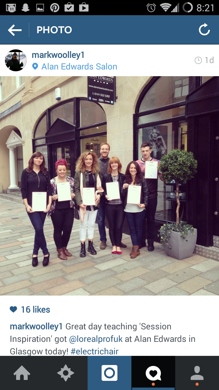 Group shot of students with Mark Woolley of Electric Hair