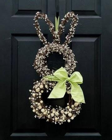 Coronas de Pascua con Ramas Recicladas, Diseño Conejos