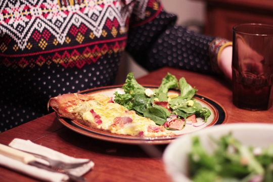 norwegian sweater and homemade pizza