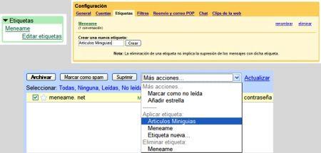 Etiquetas de Gmail