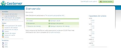 Imagen de la GUI de GeoServer