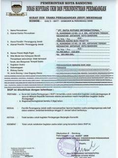 Contoh Surat Izin Usaha Perdagangan (SIUP)