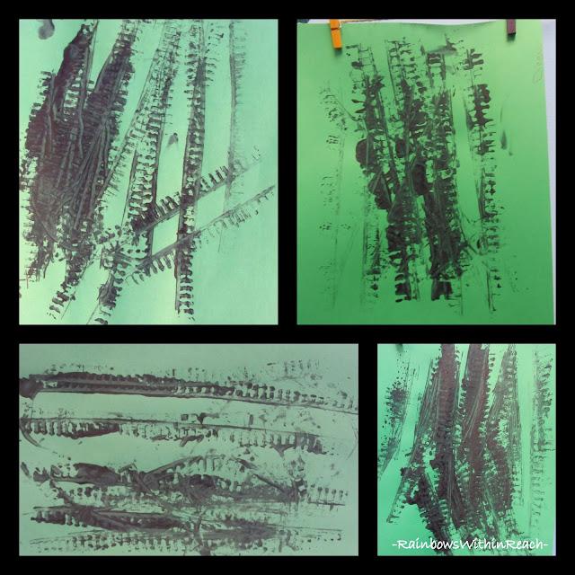 photo of: Train Track Printmaking in Preschool via RainbowsWithinReach