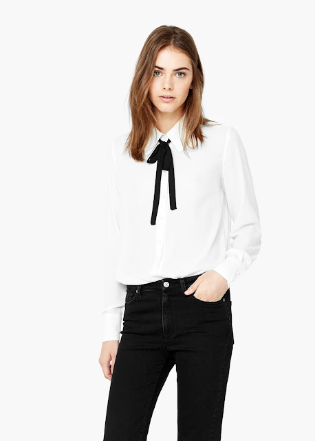 white shirt black bow, mango shirt black ribbon,
