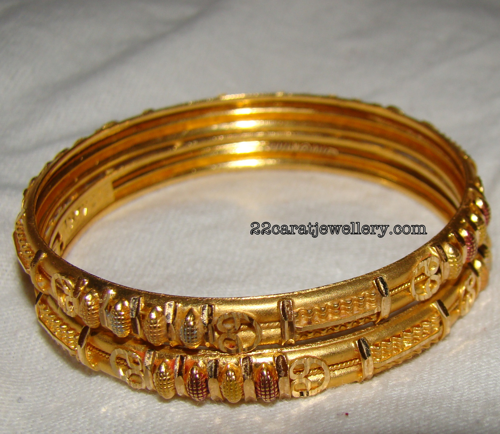 Light Weight Gold Baby Bangles - Jewellery Designs