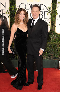 Actors Rita Wilson and Tom Hanks arrive at the 68th Annual Golden Globe Awards