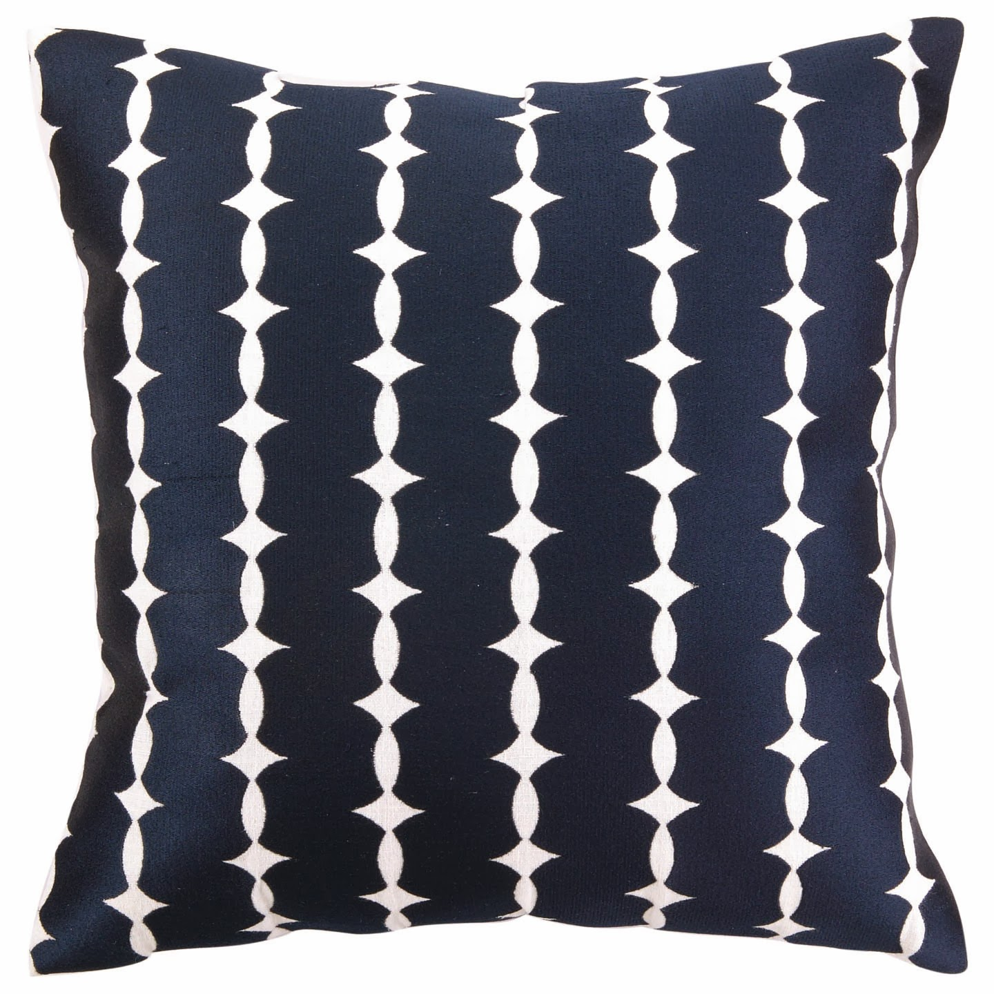 COCOCOZY Wellesley Embroidered Pillow in blue on white