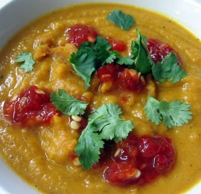carrot and white bean soup with cilantro and sambal oelek