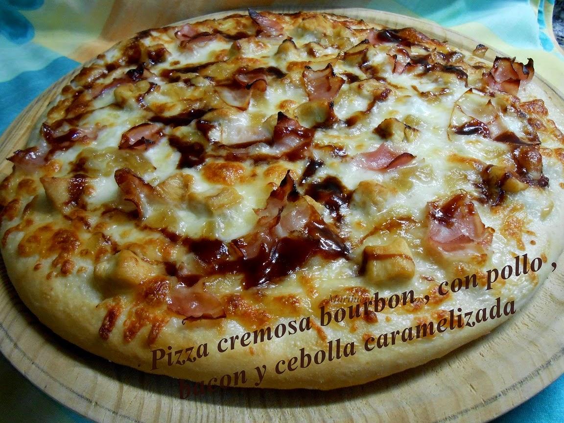 Pizza Cremosa Bourbon , Con Pollo,bacon Y Cebolla Caramelizada