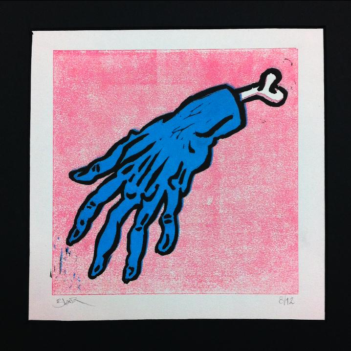 pink linoleum jeb kennedy month o monsters lino print hand