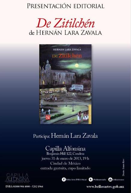 """Presentación del libro """"Zitilchén"""" de Hernán Lara en la Capilla Alfonsina del INBA"""
