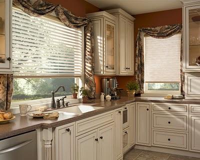 Modern mutfaklara rustik perde modelleri