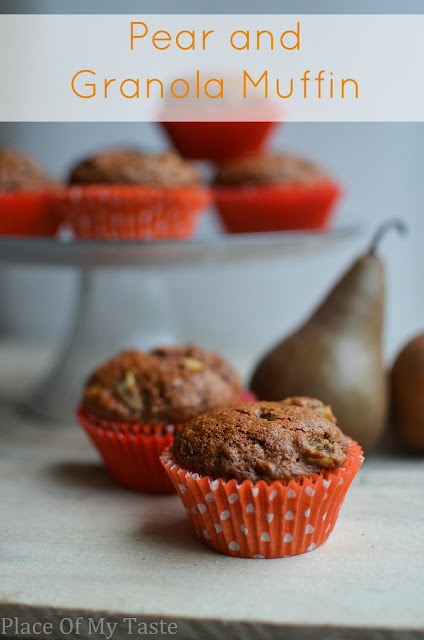 This pear and granola muffin is a great breakfast or snack with a glass of milk.