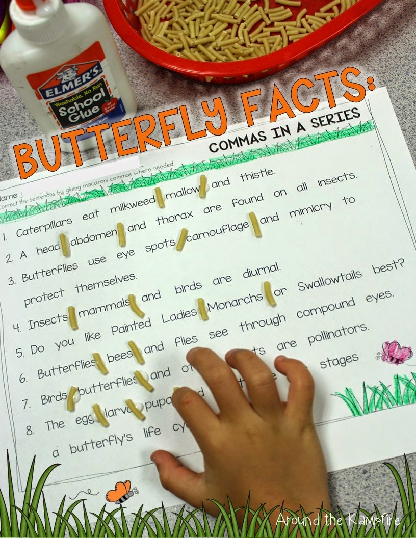 FREE butterfly life cycle commas in a series printable