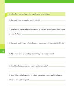 Apoyo Primaria Español 2do grado Bloque 4 lección 17 Sapo tiene miedo