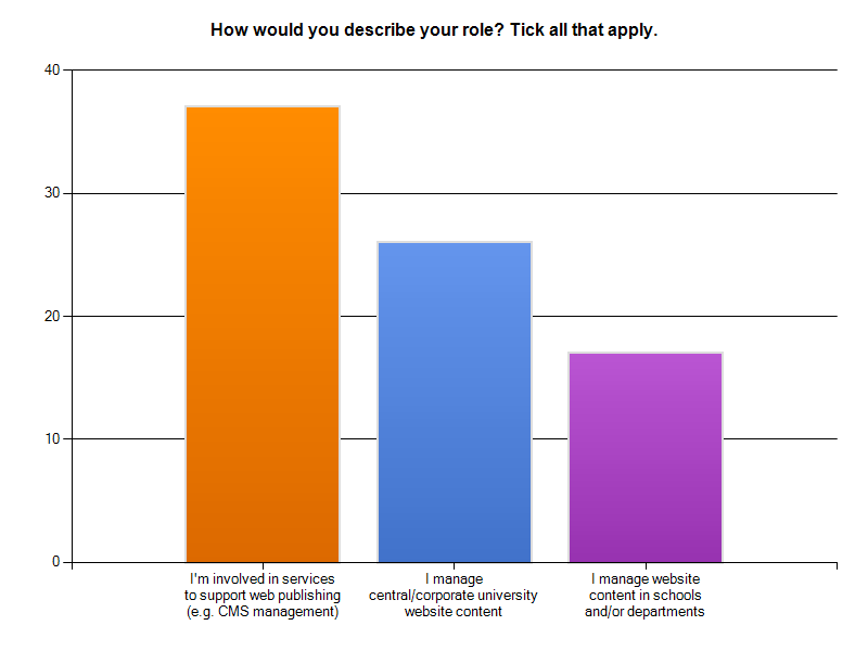 Respondents' roles: 45% corporate website management, 29% managing sub-unit websites, 64% managing web publishing services