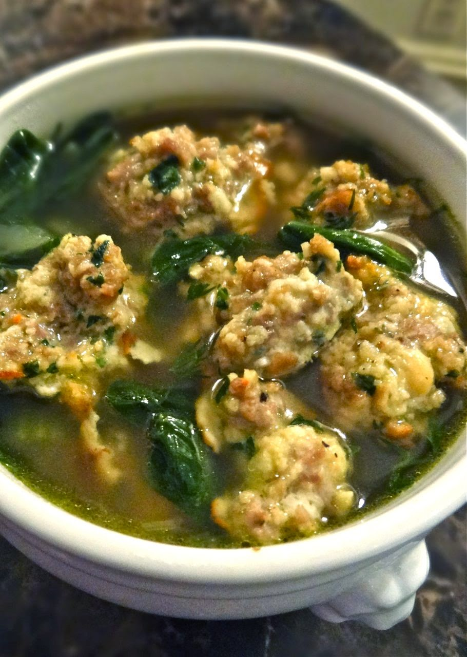 Scrumpdillyicious: Italian Wedding Soup with Meatballs & Spinach
