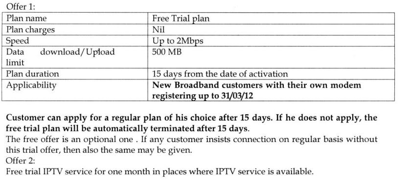 BSNL 3G BROADBAND: FREE TRIAL PROMOTIONAL OFFER FOR ...