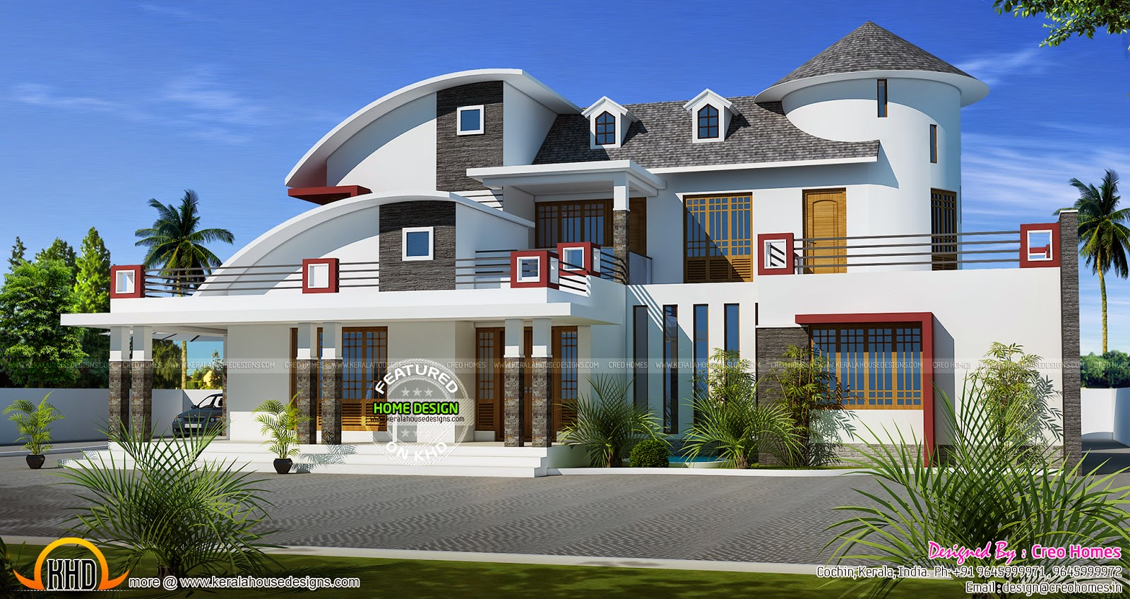 Contemporary mix home design kerala home design and for Kerala home designs contemporary
