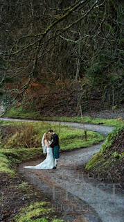 Wide shot of married couple at a Scottish Wedding