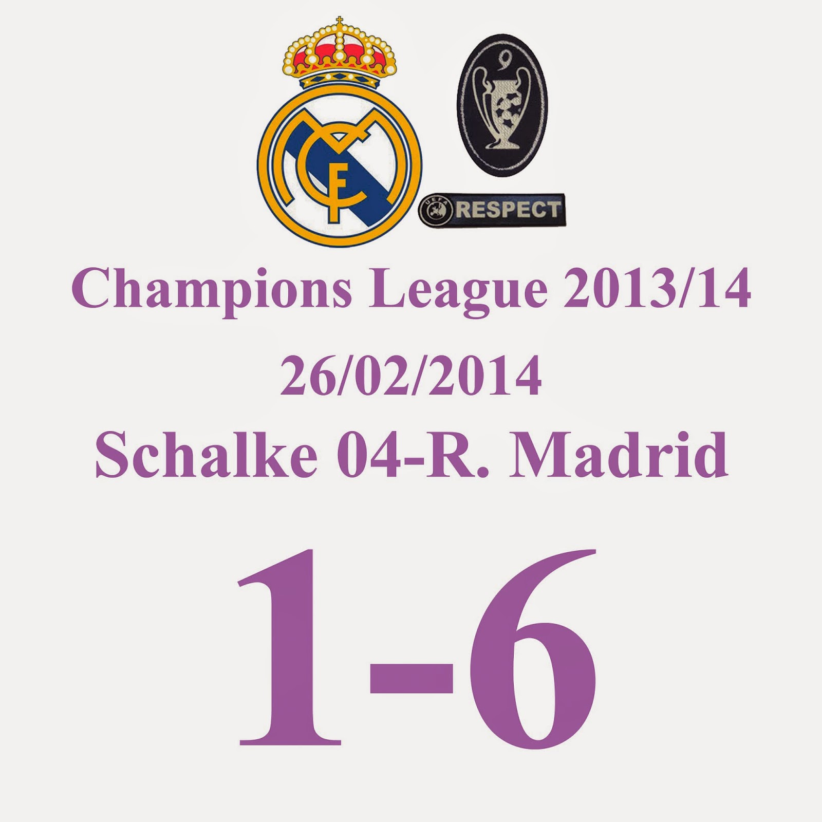 FC Schalke 04 1 - 6 Real Madrid - Octavos de final - 26/2/13 - Dobletes de K. Benzema, G. Bale y C. Ronaldo