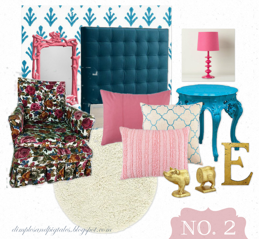 Design Board for a Granny Chic Bedroom